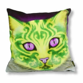 Cat throw pillow ORNAMENTA Pistachio velvet cushion cover