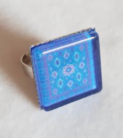 Cabochonring KOBALT blauw
