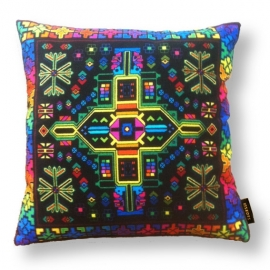Sofa pillow Spectrum-black velvet cover BLACK RAINBOW
