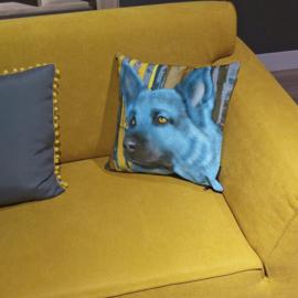 Sierkussen AZURO blauw fluwelen kussenhoes