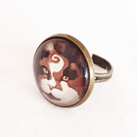 Cabochon ring cat CHOCO PRINCE2