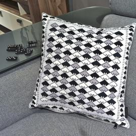 Sofa pillow Black-grey-white velvet cushion cover SNOWY OWL
