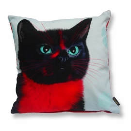 Cat throw pillow RUBY BLACK Black red velvet cushion cover