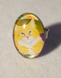 Cabochonring kat EASTER CAT