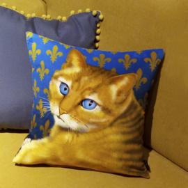 Kussenhoes Oker-blauw fluweel  Kat BLAUWOOG