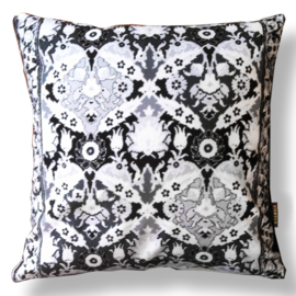 Sofa pillow Black-grey-white velvet cushion cover FROST FLOWERS