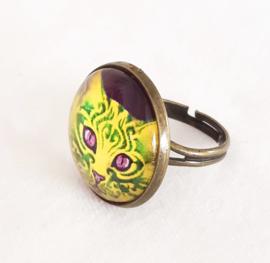 Cabochon ring cat ORNAMENTA