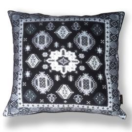 Sofa pillow Black-grey-white velvet cushion cover BLACK SWAN