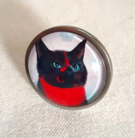 Cabochonring kat RUBY BLACK