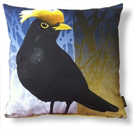 Bird cushion CRESTED BLACKBIRD cotton/velvet pillow cover