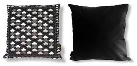 Sofa pillow Black-grey-white velvet cushion cover MOSAIC