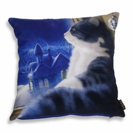 Cat throw pillow MUSING… Blue velvet cushion cover