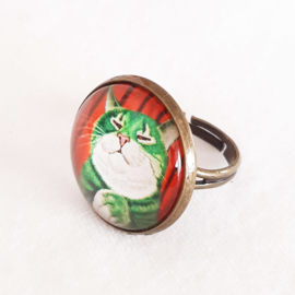 Cabochon ring cat Mr GREEN
