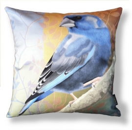 Bird cushion BLUEFINCH cotton/velvet pillow cover