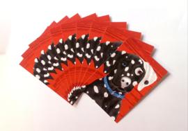 Rood-zwart fluwelen kussenhoes Hond PONGO