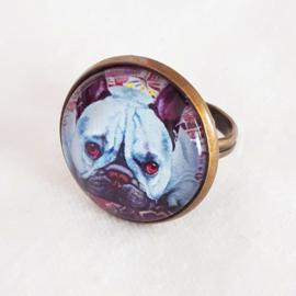 Cabochon ring dog BLEU