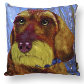Dog throw pillow WIREHAIRED OLIVER green brown pillow case