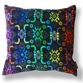 Sofa pillow Spectrum-black velvet cover WILSON'S BIRD OF PARADISE