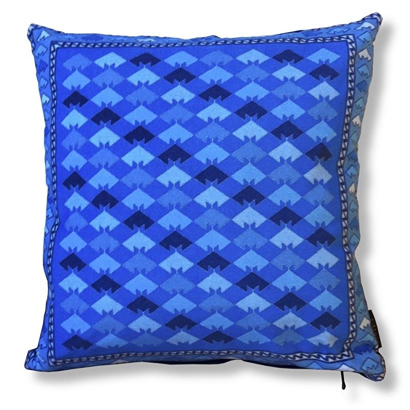 Sofa pillow Blue velvet cushion cover CORN FLOWER