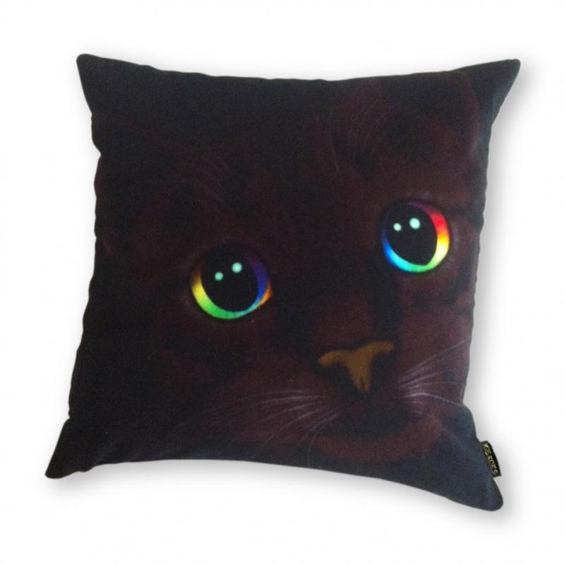 Kussenhoes Zwart fluweel  Kat DONKERE SCHOONHEID