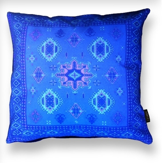 Blue velvet cushion cover COBALT
