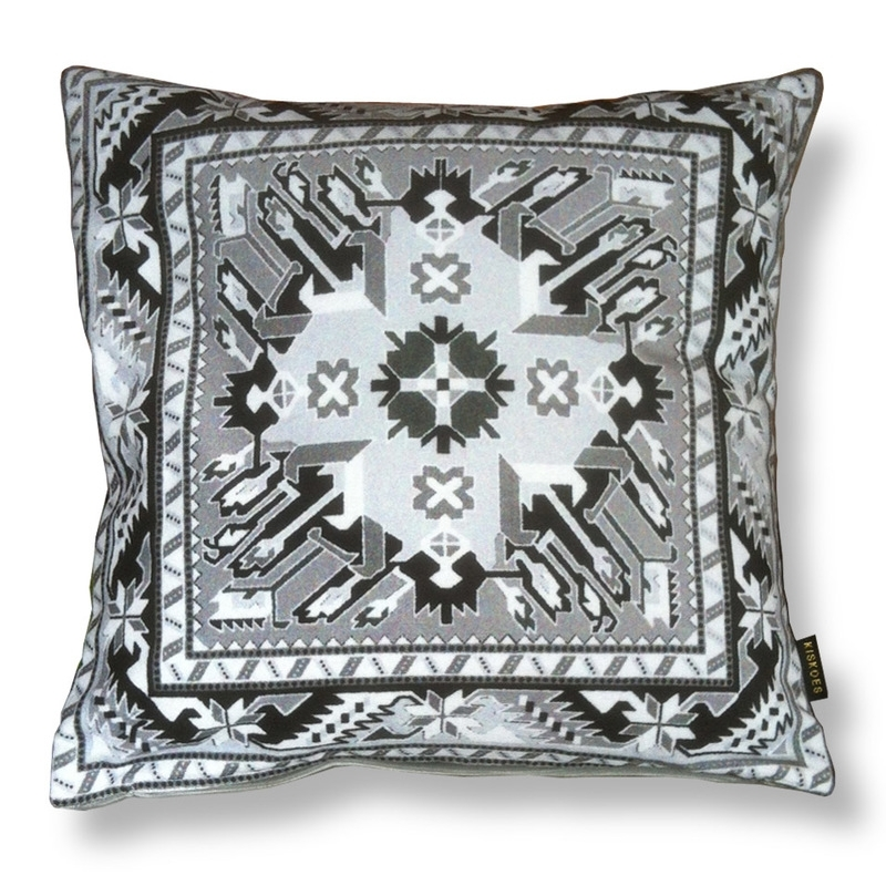 Sofa pillow Black-grey-white velvet cushion cover GREY SLATE
