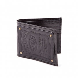 Jack Daniel's - Bifold Wallet - Black Leather - Leather Logo