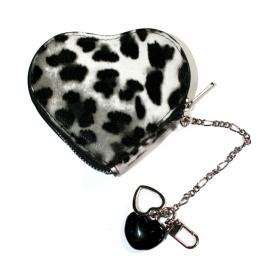 Little Coin Purse with Short Chain - Leopard Heart