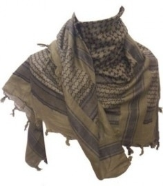 PLO Scarf - Arafat Shawl - Army Green & Black