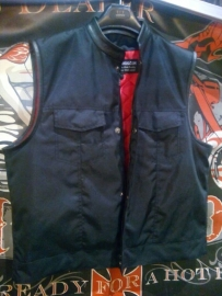 Black Vest with Leather Details - CORDURA - Mandarine Cut Off