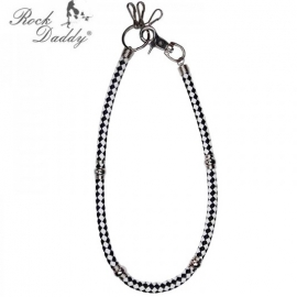 Rock Daddy - Wallet Chain - Black/White Leather