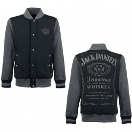 Jack Daniel's - Jacket-  Grey & Black - Original Big Classic Logo on the Back