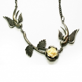 Swallow necklace with Rose