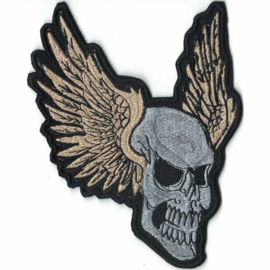 medium PATCH - Grey SKULL with 'GOLDEN' WINGS