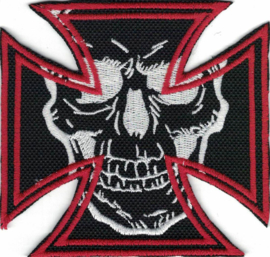 342 - PATCH - RED Maltese Cross with White Skull