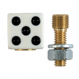 TrikTopz with License Plate Mounts - Valve Caps - White Dice (Black Eyes)