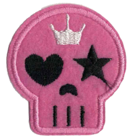 Fluffy PATCH - Pink skull with crown - heart and star eye