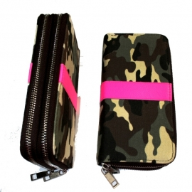 Big Wallet with Zippers - Army Camouflage & Reflective Pink
