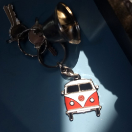 Metal Keychain - VOLKSWAGEN Type 2 - VW - Surf Van - Red & White