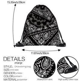 Drawstring Bag Backpack - Paisley - Black