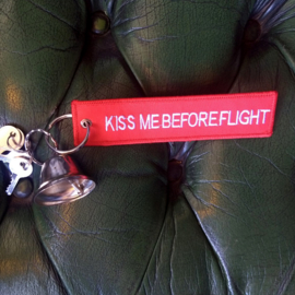 Embroided Keychain - Red & White - KISS ME BEFORE FLIGHT
