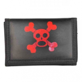Rock Daddy - Black Trifold Wallet with Chain - Red Monkey Skull with Crossed Bones