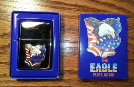 THE EAGLE FLIES AGAIN - Lighter - USA Flag & Screamin' Eagle