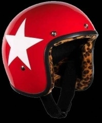 BANDIT - Jet Open Face Helmet - LEOPARD Star Design [Shiny Red  Helmet with White Star and full LEOPARD Interior]