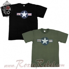 WW2 Vintage T-Shirt USAF - Black OR Olive Green