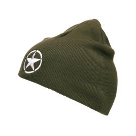 Beanie Allied Star - WW2 - Vintage War Beanie - Embroided - Olive Green