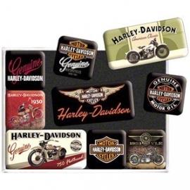 Harley-Davidson - Magnet Set - Old Skool Bikes