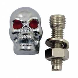 TrikTopz with License Plate Mounts - Valve Caps - Chrome Skulls with Red Eyes