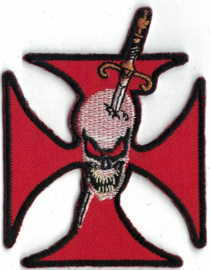 023 - PATCH - Maltese Red Cross - Skull With Sword Through It's Head