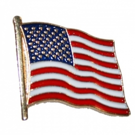 P110 - PIN - American Waving Flag - Stars and Stripes - USA